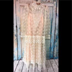 Vtg Jessica McClintock Victorian Boho Lace Sz 12